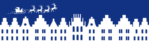 Μπλε έμβλημα χειμερινών Χριστουγέννων ελεύθερη απεικόνιση δικαιώματος