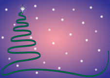 Μπλε δέντρων κορδελλών Χριστουγέννων με το χιόνι Στοκ Φωτογραφίες