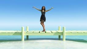 μπλε ήλιος θάλασσας αποβαθρών ξύλινος Στοκ εικόνα με δικαίωμα ελεύθερης χρήσης