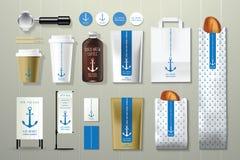 Μπλε αγκύρων σύνολο σχεδίου προτύπων ταυτότητας καφετεριών εταιρικό Στοκ Εικόνα