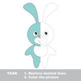 Μπλε λαγουδάκι που χρωματίζεται Διανυσματικό παιχνίδι ιχνών Στοκ εικόνα με δικαίωμα ελεύθερης χρήσης