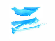 Μπλε ακρυλικοί πλαίσιο/λεκές χρωμάτων Καθαρό άσπρο υπόβαθρο Στοκ εικόνα με δικαίωμα ελεύθερης χρήσης
