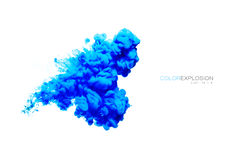 Μπλε ακρυλικό μελάνι στο νερό αφηρημένη fractals έκρηξης χρώματος ανασκόπησης ψηφιακή απεικόνιση κατασκευασμένη Στοκ Εικόνες