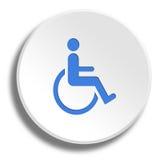 Μπλε αναπηρία στο στρογγυλό άσπρο κουμπί με τη σκιά απεικόνιση αποθεμάτων