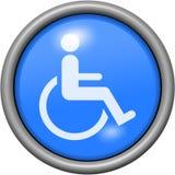 Μπλε αναπηρία σχεδίου στο στρογγυλό τρισδιάστατο κουμπί διανυσματική απεικόνιση