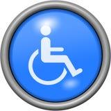 Μπλε αναπηρία σχεδίου στο στρογγυλό τρισδιάστατο κουμπί ελεύθερη απεικόνιση δικαιώματος
