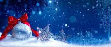 Μπλε ανασκόπηση Χριστουγέννων χιονιού τέχνης Στοκ φωτογραφία με δικαίωμα ελεύθερης χρήσης