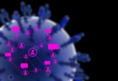 Μπλε ανθρώπινο κοινωνικό δίκτυο γραφικής παράστασης Στοκ Εικόνες