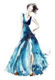 Μπλε απεικόνιση μόδας φορεμάτων, ζωγραφική watercolor απεικόνιση αποθεμάτων