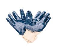 Μπλε λαστιχένια γάντια εργασίας Στοκ φωτογραφία με δικαίωμα ελεύθερης χρήσης
