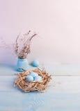 Μπλε αυγά Πάσχας στη φωλιά στο ξύλινο υπόβαθρο Στοκ Εικόνες