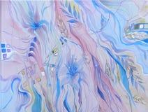 Μπλε αφηρημένη απεικόνιση watercolor υποβάθρου Στοκ Εικόνες