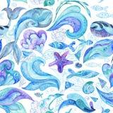 Μπλε αφηρημένο θαλάσσιο σχέδιο Watercolor Στοκ φωτογραφίες με δικαίωμα ελεύθερης χρήσης