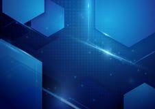 Μπλε αφηρημένο υπόβαθρο έννοιας τεχνολογίας τεχνολογίας ψηφιακό γεια Στοκ φωτογραφία με δικαίωμα ελεύθερης χρήσης