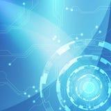 Μπλε αφηρημένο υπόβαθρο κυκλωμάτων τεχνολογίας, διανυσματική απεικόνιση Στοκ Εικόνες