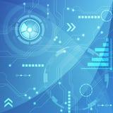 Μπλε αφηρημένο υπόβαθρο κυκλωμάτων τεχνολογίας, διανυσματική απεικόνιση Στοκ Εικόνα