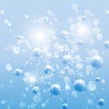 Μπλε αφηρημένο υπόβαθρο, δομή μορίων Στοκ Φωτογραφία