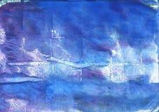 Μπλε αφηρημένο υπόβαθρο watercolor Han Στοκ Φωτογραφία