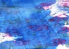 Μπλε αφηρημένο υπόβαθρο watercolor Han Στοκ φωτογραφία με δικαίωμα ελεύθερης χρήσης