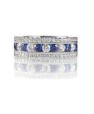 Μπλε δαχτυλίδι γαμήλιων ζωνών διαμαντιών σαπφείρου Στοκ φωτογραφία με δικαίωμα ελεύθερης χρήσης