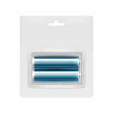 Μπλε αλκαλικές μπαταρίες AA στη φουσκάλα για το μαρκάρισμα Στοκ Εικόνα