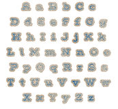 Μπλε αλφάβητο μπαλωμάτων τζιν απεικόνιση αποθεμάτων