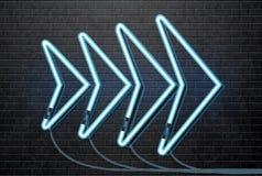 Μπλε βέλος νέου που απομονώνεται στο μαύρο τουβλότοιχο Στοκ Εικόνα