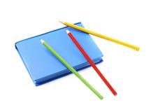 Μπλε βιβλίο σημειώσεων που απομονώνεται Στοκ Φωτογραφία