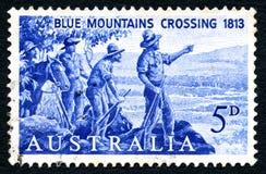 Μπλε βουνά που διασχίζουν το αυστραλιανό γραμματόσημο Στοκ Φωτογραφία
