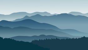 Μπλε βουνά στην ομίχλη επίσης corel σύρετε το διάνυσμα απεικόνισης Στοκ Εικόνες