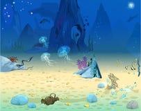 Μπλε βυθός με τους θαλάσσιους κατοίκους Απεικόνιση αποθεμάτων