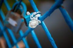 Μπλε γάμος κλειδαριών στοκ φωτογραφία