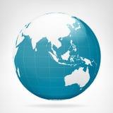 Μπλε γήινη άποψη της Ασίας που απομονώνεται Στοκ Εικόνες