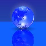 μπλε γήινος πλανήτης η χώρα του ανατέλλοντος ηλίου και η άποψη Τυποποιημένη στιλπνή σφαίρα με τη σκιά και την αντανάκλαση Στοκ Φωτογραφίες