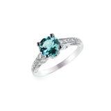 Μπλε γαμήλιο δαχτυλίδι δέσμευσης διαμαντιών Στοκ εικόνες με δικαίωμα ελεύθερης χρήσης