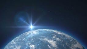 Μπλε γη που περιστρέφεται με τον ήλιο Β 3 απεικόνιση αποθεμάτων