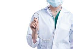μπλε γιατρός ανασκόπησης ιατρικός πέρα από το χαμόγελο του στηθοσκοπίου Στοκ Εικόνα