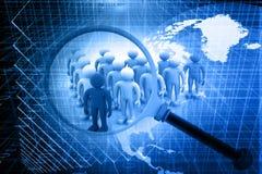 μπλε γκρίζο ανθρώπινο loupe αριθμού πλήθους έξω πέρα από τη σωστή στάση έρευνας προσώπων Στοκ Φωτογραφίες