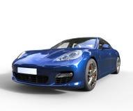 Μπλε γρήγορη μπροστινή άποψη αυτοκινήτων Στοκ Φωτογραφία