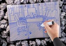 μπλε γραμμές γραφείων σχεδίων χεριών σε χαρτί Στοκ φωτογραφίες με δικαίωμα ελεύθερης χρήσης