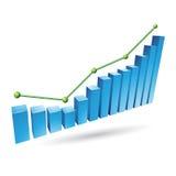 Μπλε γραφική παράσταση Stats Στοκ Φωτογραφίες