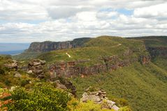 Μπλε εθνικό πάρκο βουνών. Katoomba, Νότια Νέα Ουαλία, Αυστραλία Στοκ Εικόνα