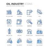 Μπλε εικονίδια βιομηχανίας πετρελαίου γραμμών ελεύθερη απεικόνιση δικαιώματος