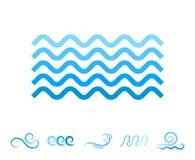 Μπλε εικονίδια κυμάτων θάλασσας ή υγρά σύμβολα νερού Στοκ Φωτογραφία