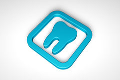Μπλε εικονίδιο δοντιών που απομονώνεται στο άσπρο υπόβαθρο Στοκ φωτογραφία με δικαίωμα ελεύθερης χρήσης