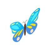 Μπλε εικονίδιο πεταλούδων, isometric τρισδιάστατο ύφος Στοκ φωτογραφίες με δικαίωμα ελεύθερης χρήσης