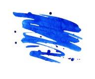 Μπλε λεκές watercolor με την κηλίδα χρωμάτων ακουαρελών Στοκ Εικόνες