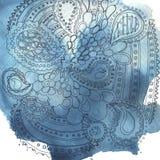 Μπλε λεκέδες και σχέδιο watercolor Στοκ Εικόνες