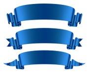 Μπλε εμβλήματα κορδελλών καθορισμένα στοκ εικόνα