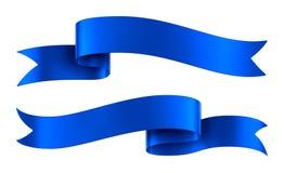 Μπλε εμβλήματα κορδελλών σατέν που απομονώνονται Στοκ Εικόνα